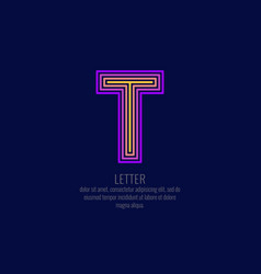 modern linear logo and sign the letter t vector image