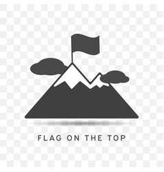 mountain icon with flag on the top trendy flat vector image
