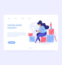 Moving home landing page concept vector