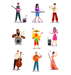 musicians and singers in colorful costumes on vector image