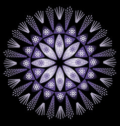 Mystery mandala in intensiv ultra violet on black vector