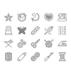 needlework simple black line icons set vector image