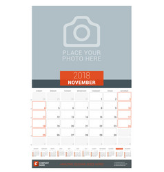 November 2018 wall monthly calendar planner for vector