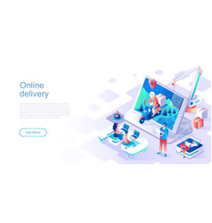 online delivery landing page template vector image