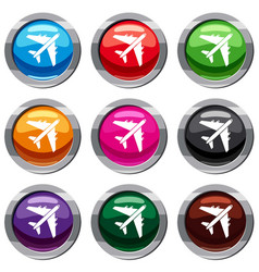 passenger airliner set 9 collection vector image
