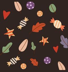 pattern autumn object on white background vector image