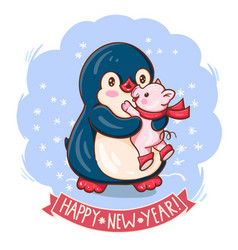 penguin and a pig vector image