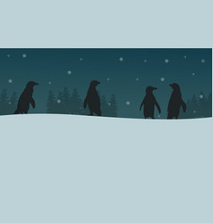 Penguin at night scenery silhouettes vector