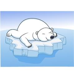 polar bear resting on an ice vector image