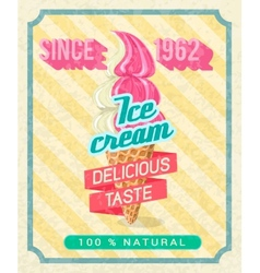 Poster with strawberry ice-cream vector
