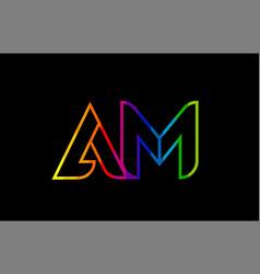 Rainbow color colored colorful alphabet letter am vector
