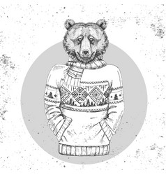 retro hipster fashion animal bear vector image