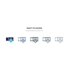 Right to access icon in different style two vector