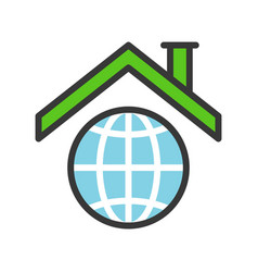 roof on planet earth icon filled outline flat vector image