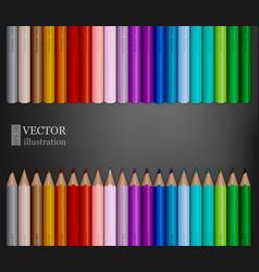 Rows of rainbow colored pencils on dark grey vector