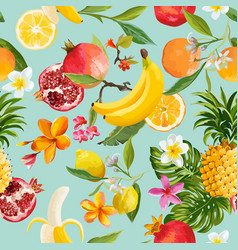 Seamless tropical fruits pattern exotic background vector