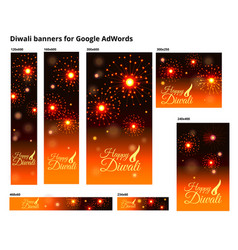 Set of ad banners for diwali festival with sizes vector