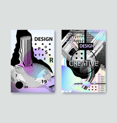 set of covers templates with bauhaus and vector image