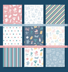 Set seamless backgrounds on theme baby vector