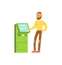 Smiling man using electronic self service payment vector