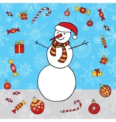Snowman hand drawn background Winter Xmas vector image