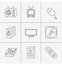 Sound club music and retro radio icons vector image