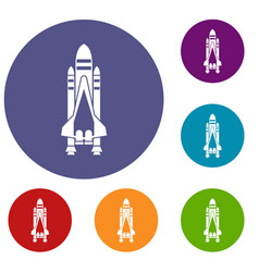space shuttle icons set vector image