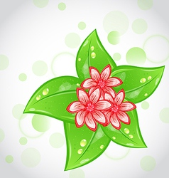 Spring background with flowers and leaves vector image