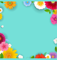 spring poster with flowers and leaf vector image