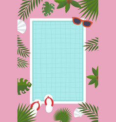 Summer poster swimming pool with palm leaf vector