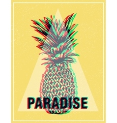 Summer tropical T-shirt graphics print pineapple vector