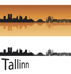 Tallinn skyline in orange background vector image