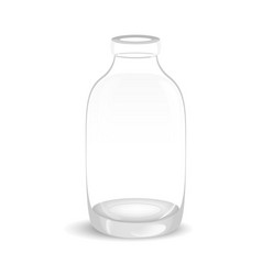 Template of empty tall transparent glass bottle vector