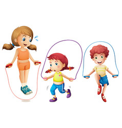 Three kids jumping rope on white background vector