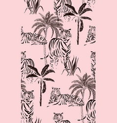 tiger wild cat safari jungle pattern seamless vector image