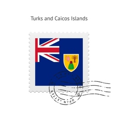 Turks and Caicos Islands Flag Postage Stamp vector