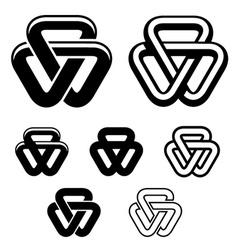 unity triangle black white symbols vector image