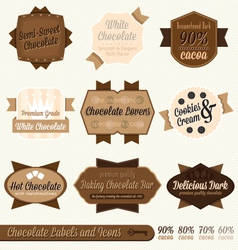 Vintage Chocolate Labels and Icons vector image