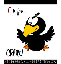 vocabulary worksheet card with cartoon crow vector image