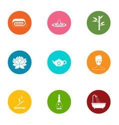 Weekend relaxation icons set flat style vector