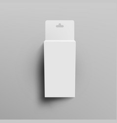 White blank cardboard packaging box with hang tab vector