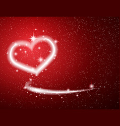 white heart star snow on red background valentine vector image