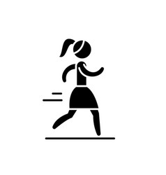 woman running black icon sign on isolated vector image
