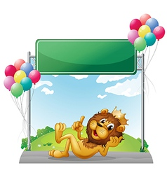 A lion with a crown near the empty signage vector image