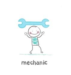 Mechanic holding blue key vector image vector image
