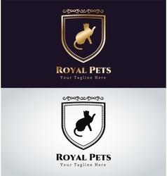 Retro Vintage cat monogram logo vector image
