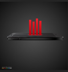 smartphone with red chart on black background vector image vector image
