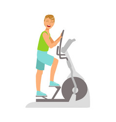 young man working out using elliptical trainer vector image
