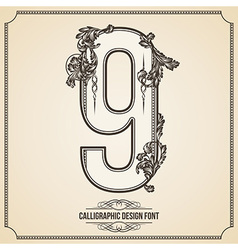 Calligraphic font Number 9 vector image