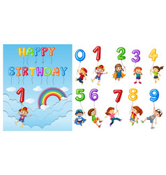 children with numbers and balloons vector image vector image